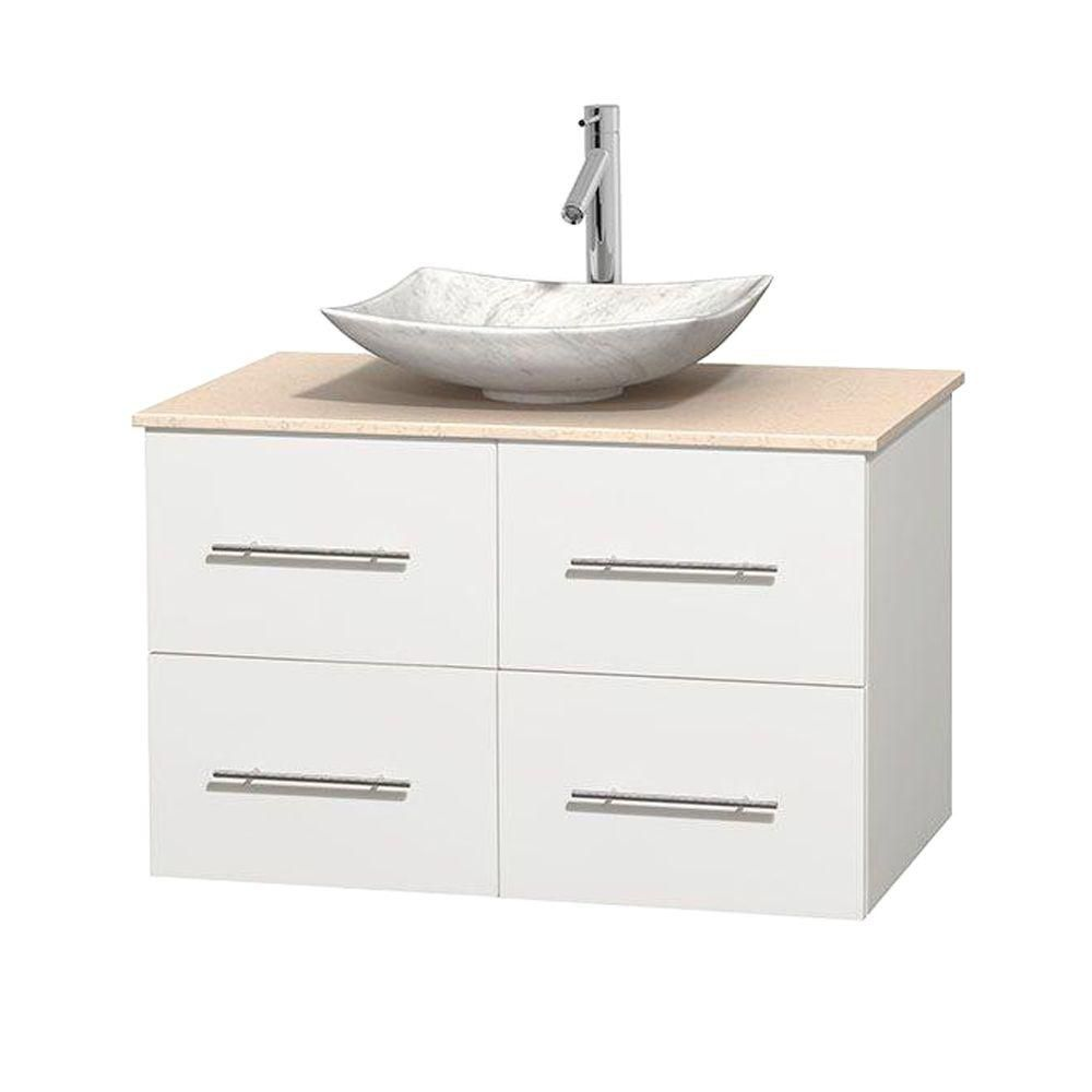 Centra 36-inch W Vanity in White with Marble Top in Ivory with White Basin