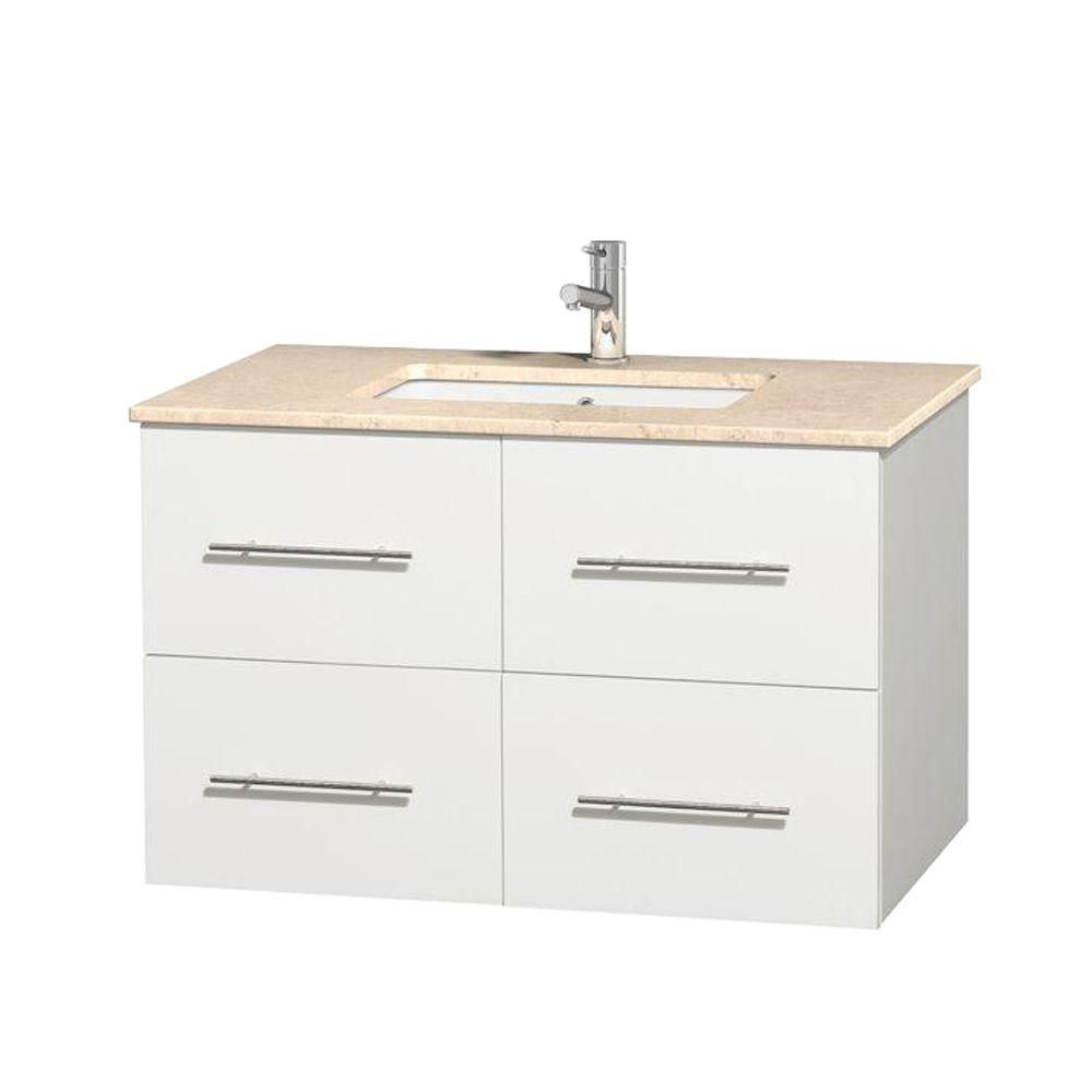 Meuble unique Centra 36 po. blanc, comptoir marbre ivoire, lavabo carré sans miroir