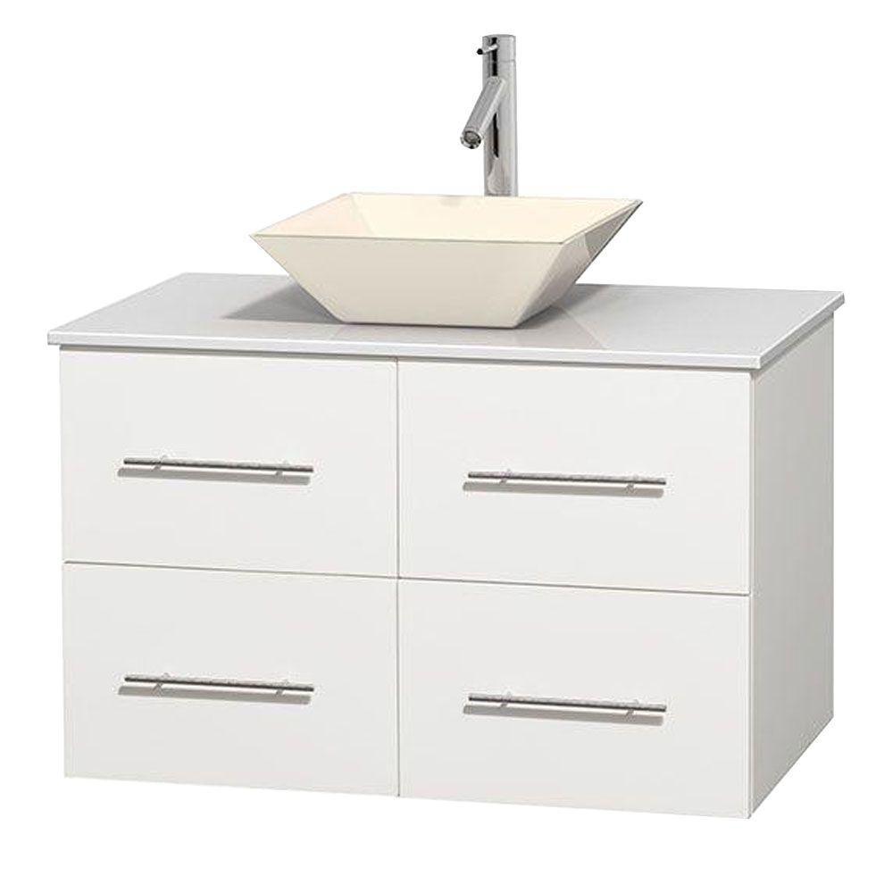 Centra 36-inch W Vanity in White with Solid Top with Bone Basin