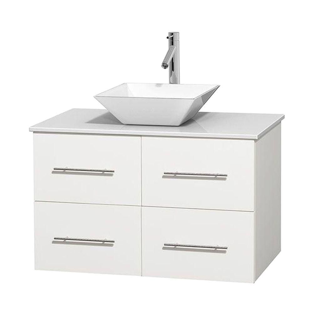 Centra 36-inch W Vanity in White with Solid Top with White Basin