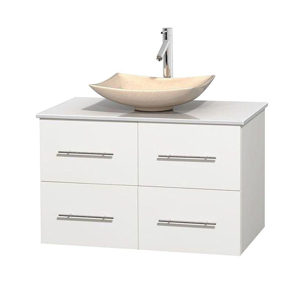 Centra 36-inch W Vanity in White with Solid Top with Ivory Basin