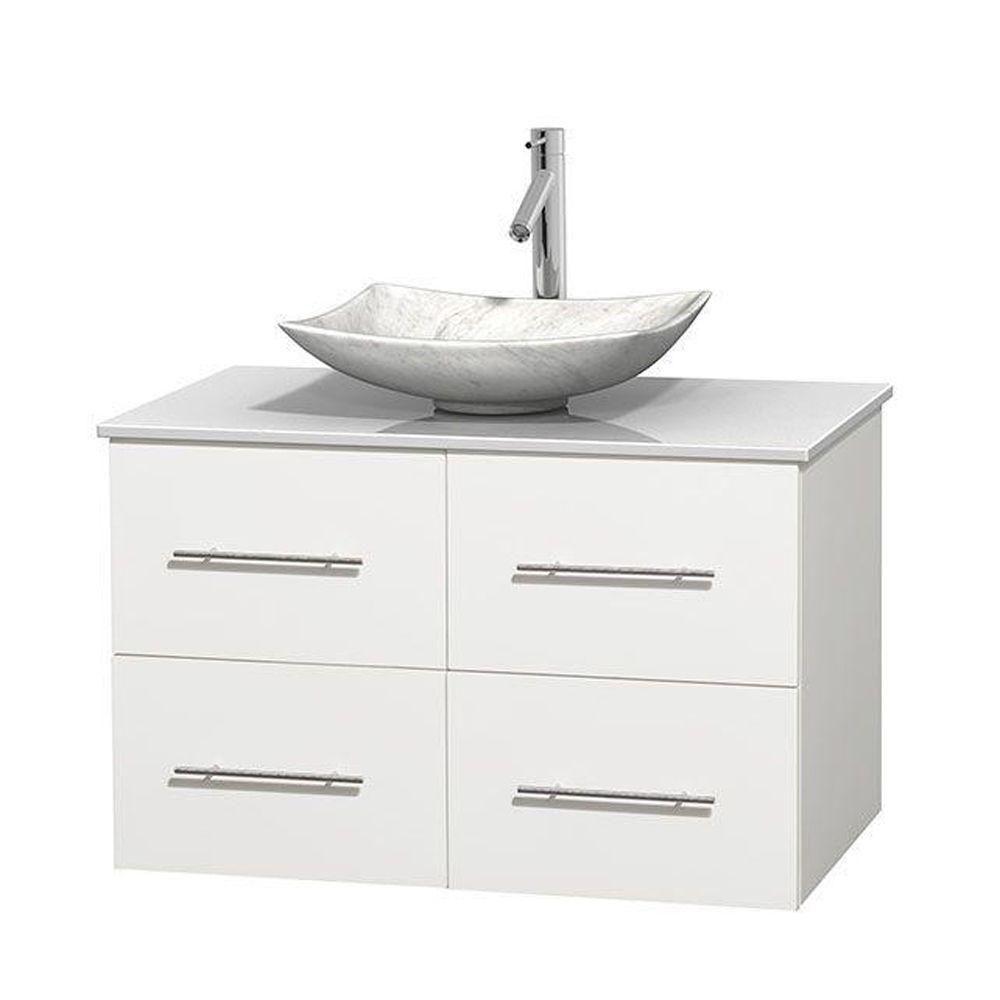 Meuble simple Centra 36 po. blanc, comptoir solide, lavabo blanc Carrare, sans miroir