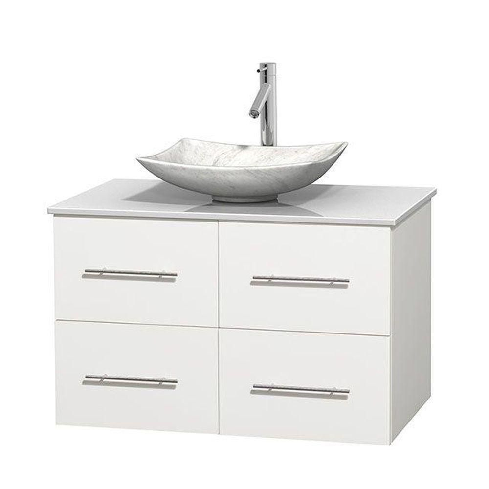 Wyndham Collection Meuble simple Centra 36 po. blanc, comptoir solide, lavabo blanc Carrare, sans miroir