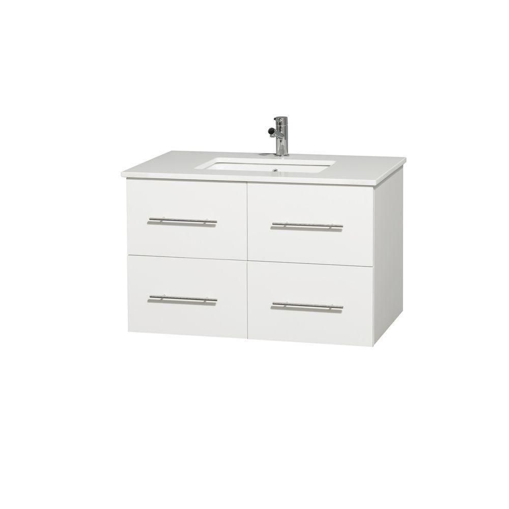Centra 36-inch W Vanity in White with Solid Top with Square Basin