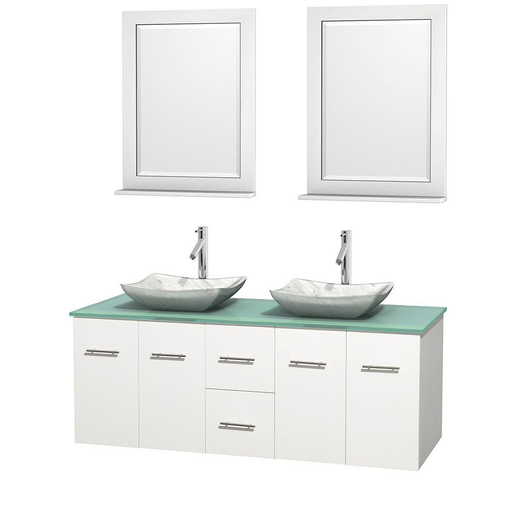 Centra 60-inch W Double Vanity in White with Glass Top with White Basins and Mirrors
