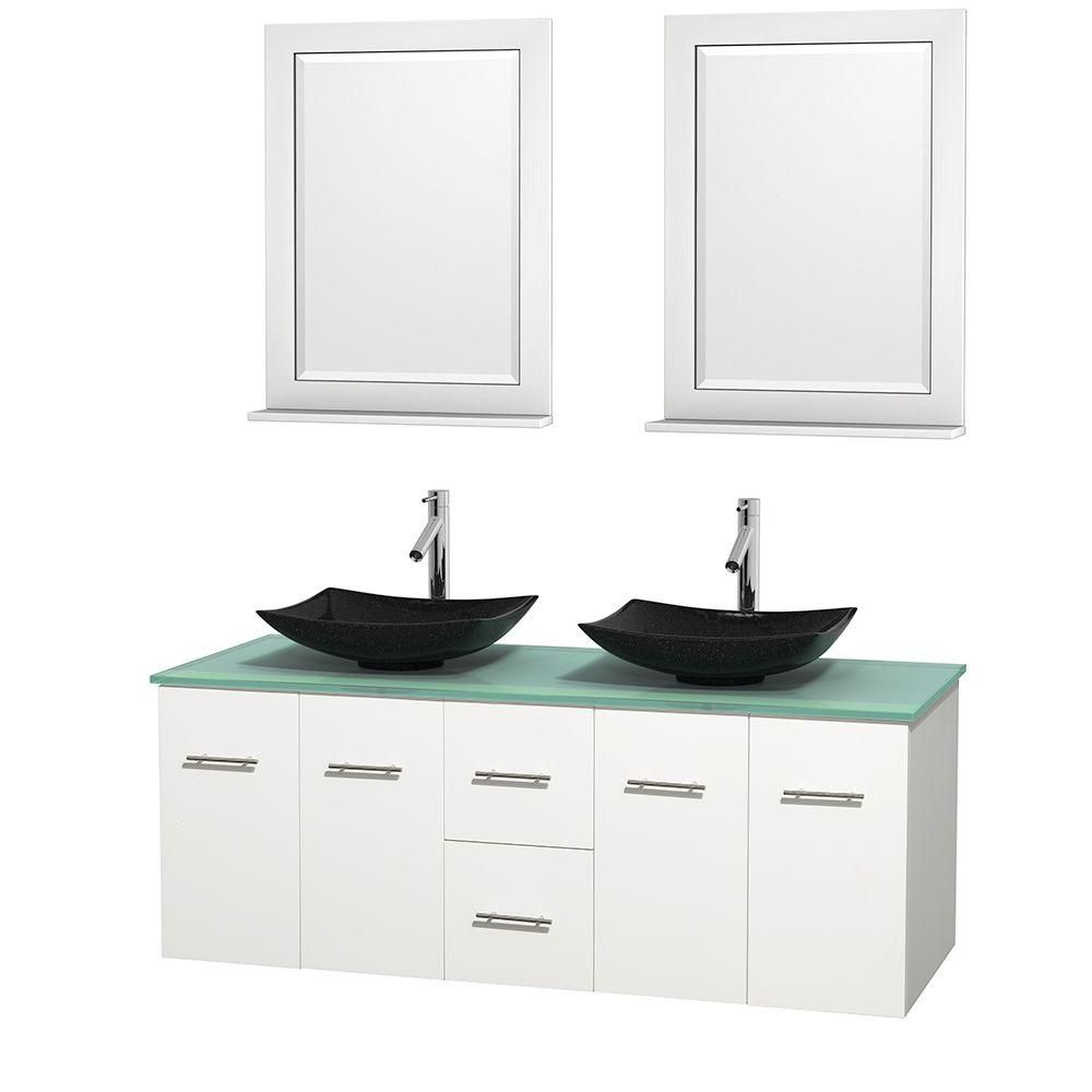 Centra 60-inch W Double Vanity in White with Glass Top with Black Basins and Mirrors