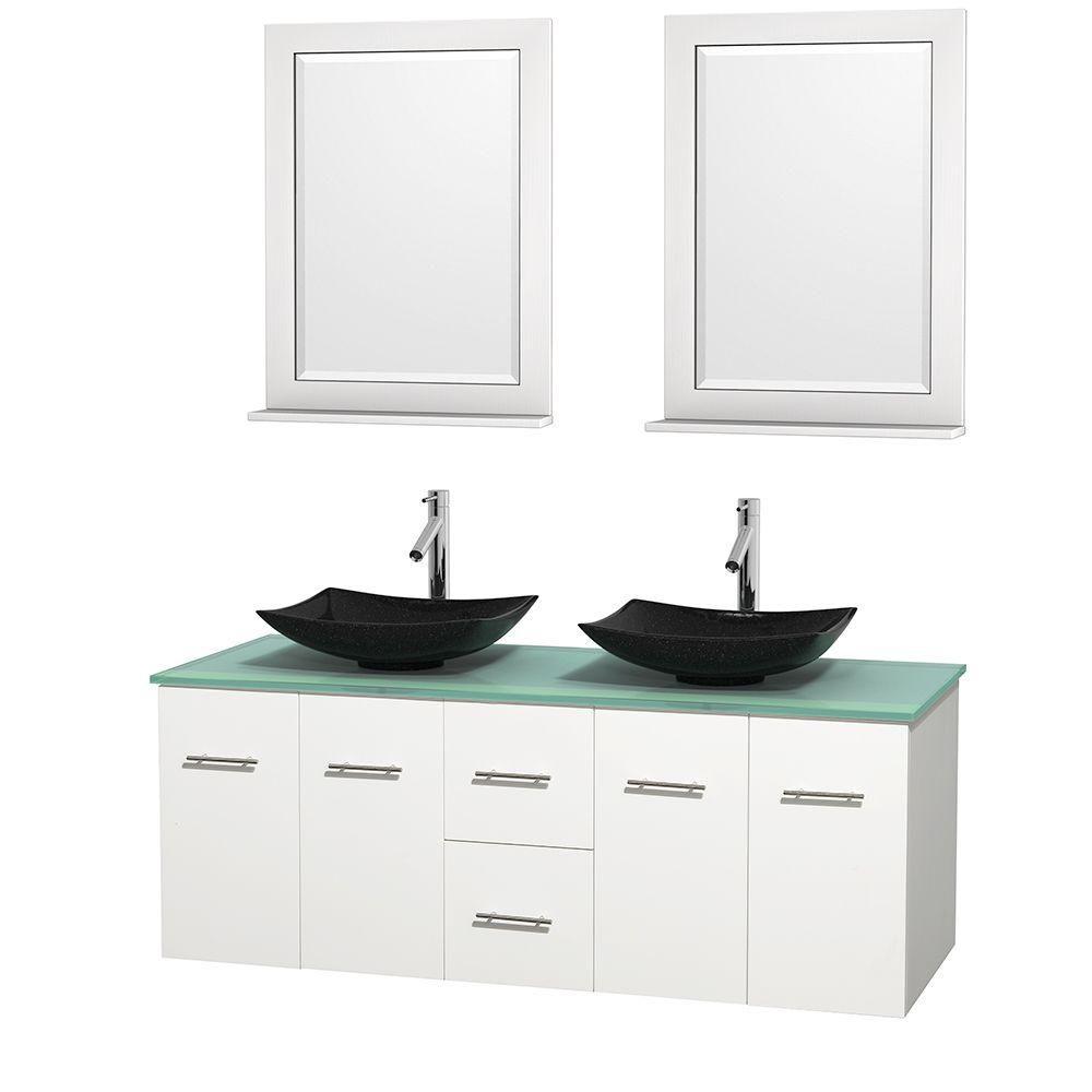 Meuble double Centra 60 po. blanc, comptoir verre vert, lavabos granit noir, miroirs 24 po.