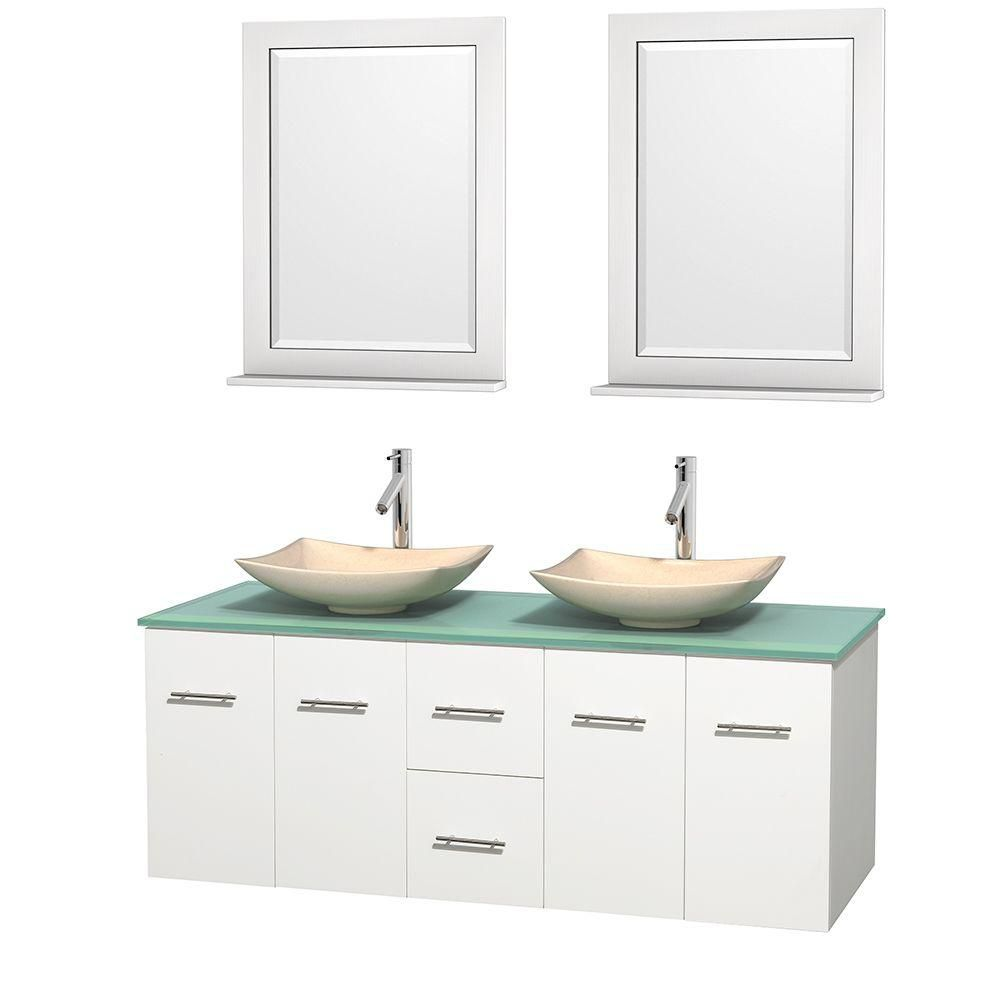 Centra 60-inch W Double Vanity in White with Glass Top with Ivory Basins and Mirrors