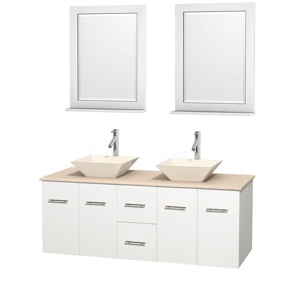 Centra 60-inch W Double Vanity in White with Marble Top in Ivory with Bone Basins and Mirrors