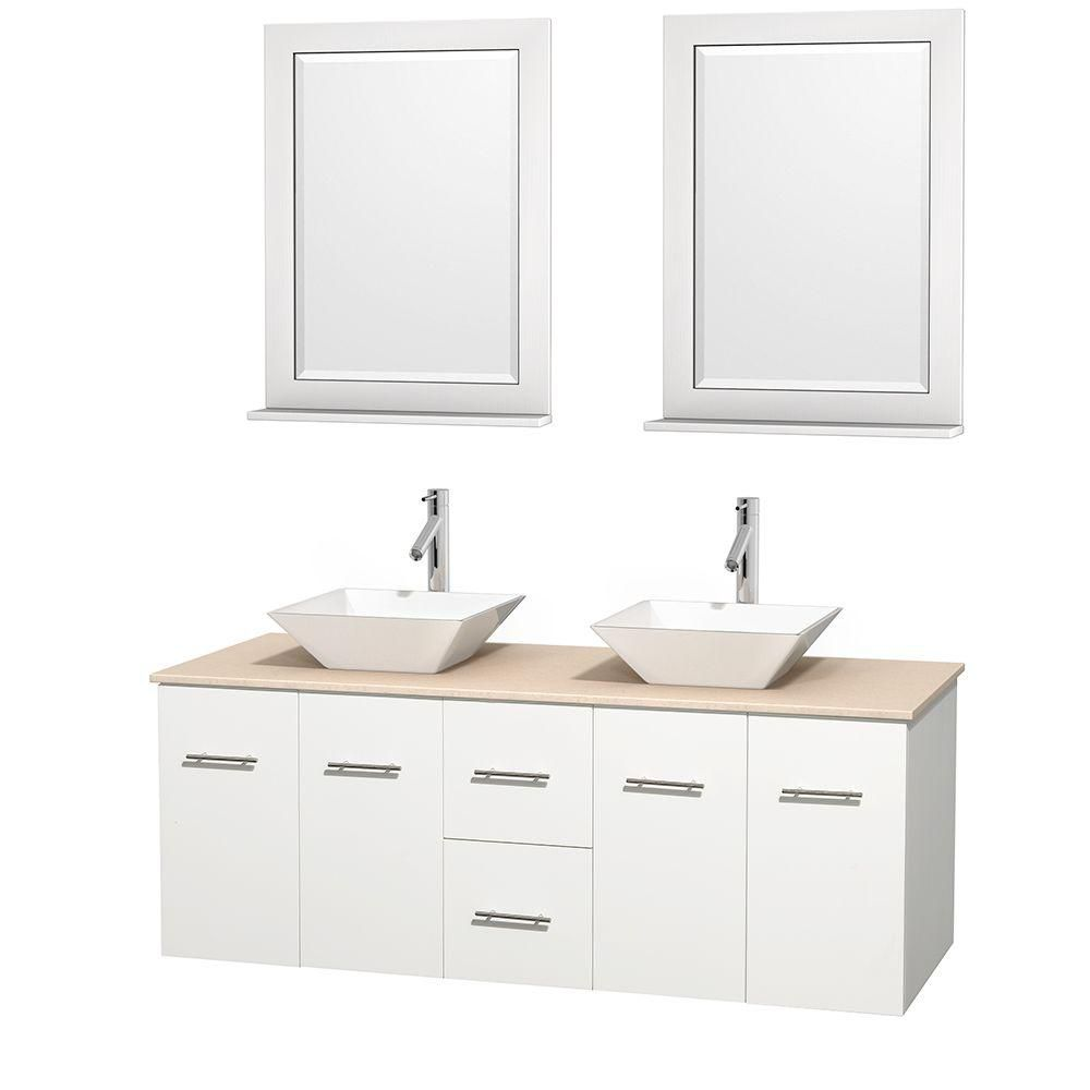 Meuble double Centra 60 po. blanc, comptoir marbre ivoire, lavabos porcelaine blanche, miroirs 24...
