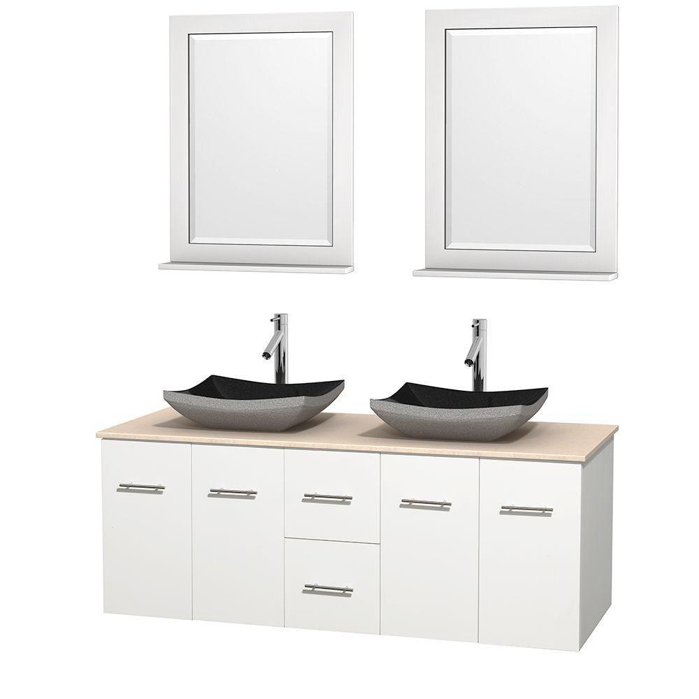 Meuble double Centra 60 po. blanc, comptoir marbre ivoire, lavabos granit noir, miroirs 24 po.