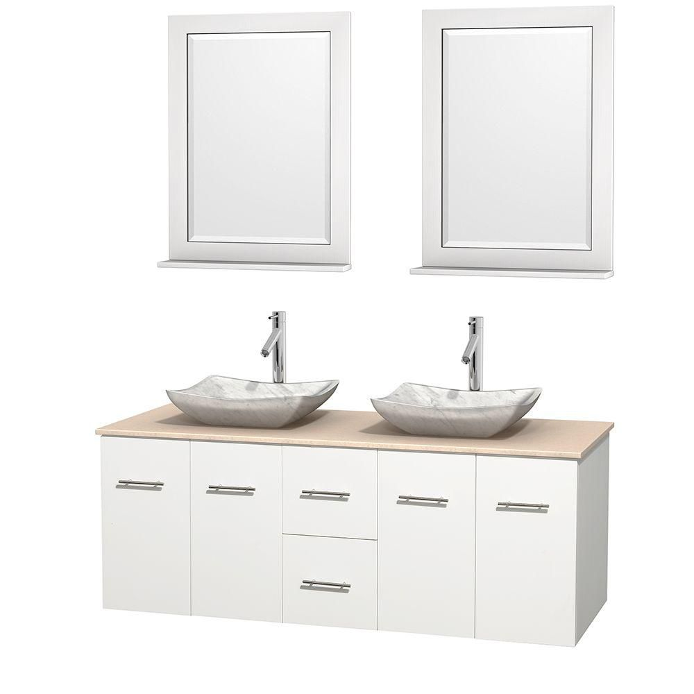 Centra 60-inch W Double Vanity in White with Marble Top in Ivory with White Basins and Mirrors