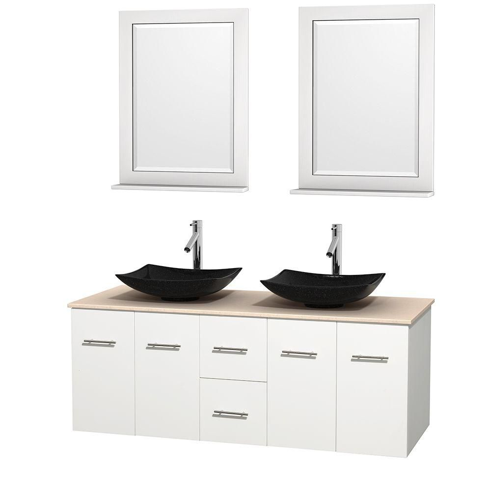 Centra 60-inch W Double Vanity in White with Marble Top in Ivory with Black Basins and Mirrors