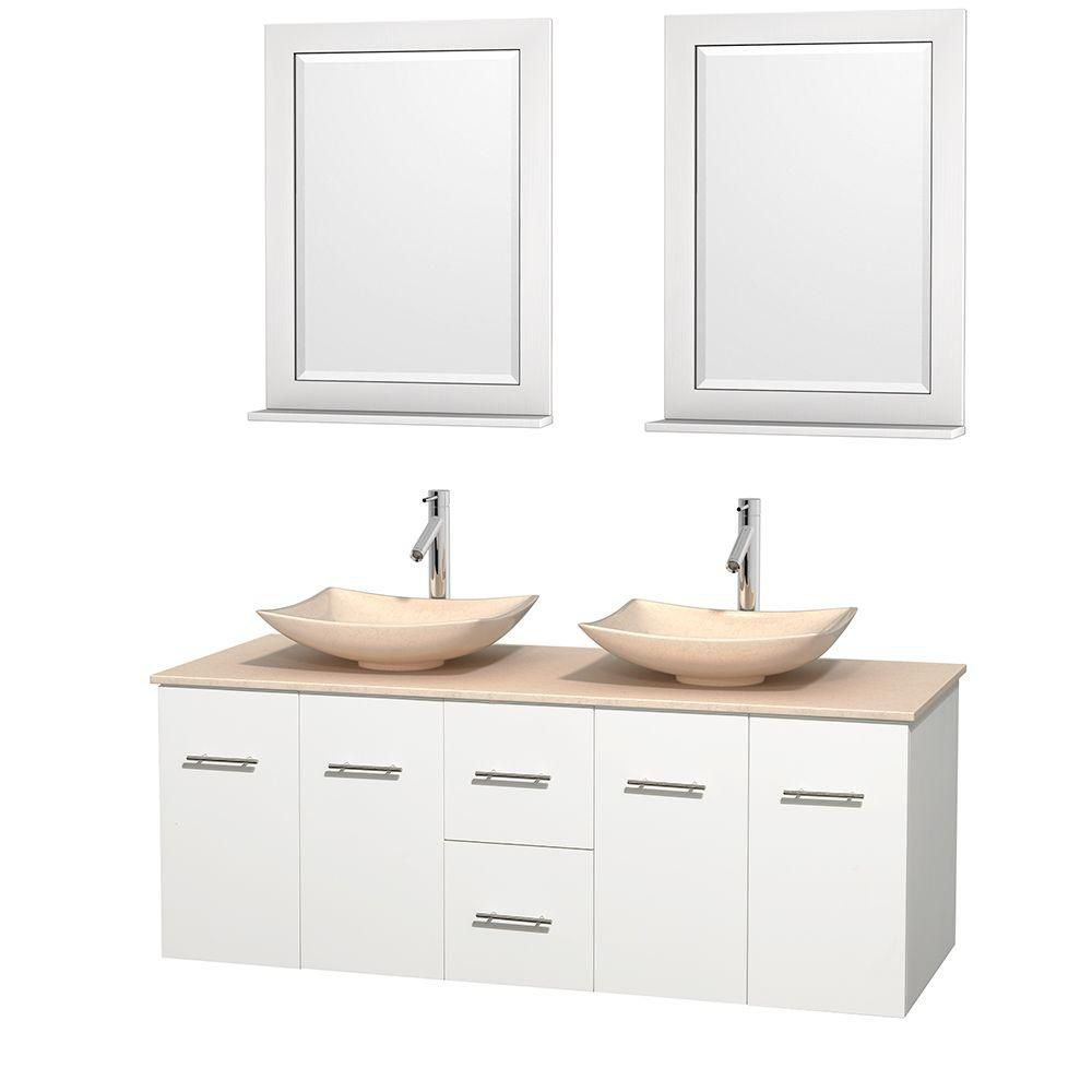Centra 60-inch W Double Vanity in White with Marble Top in Ivory with Ivory Basins and Mirrors