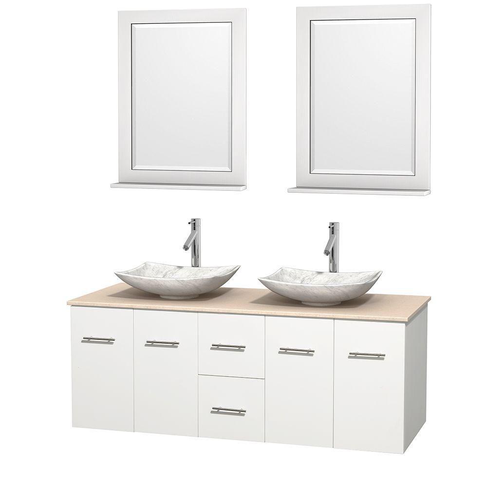 Meuble double Centra 60 po. blanc, comptoir marbre ivoire, lavabos blanc Carrare, miroirs 24 po.