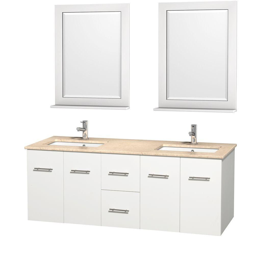 Wyndham Collection Meuble double Centra 60 po. blanc, comptoir marbre ivoire, lavabo carré, miroir 24 po.