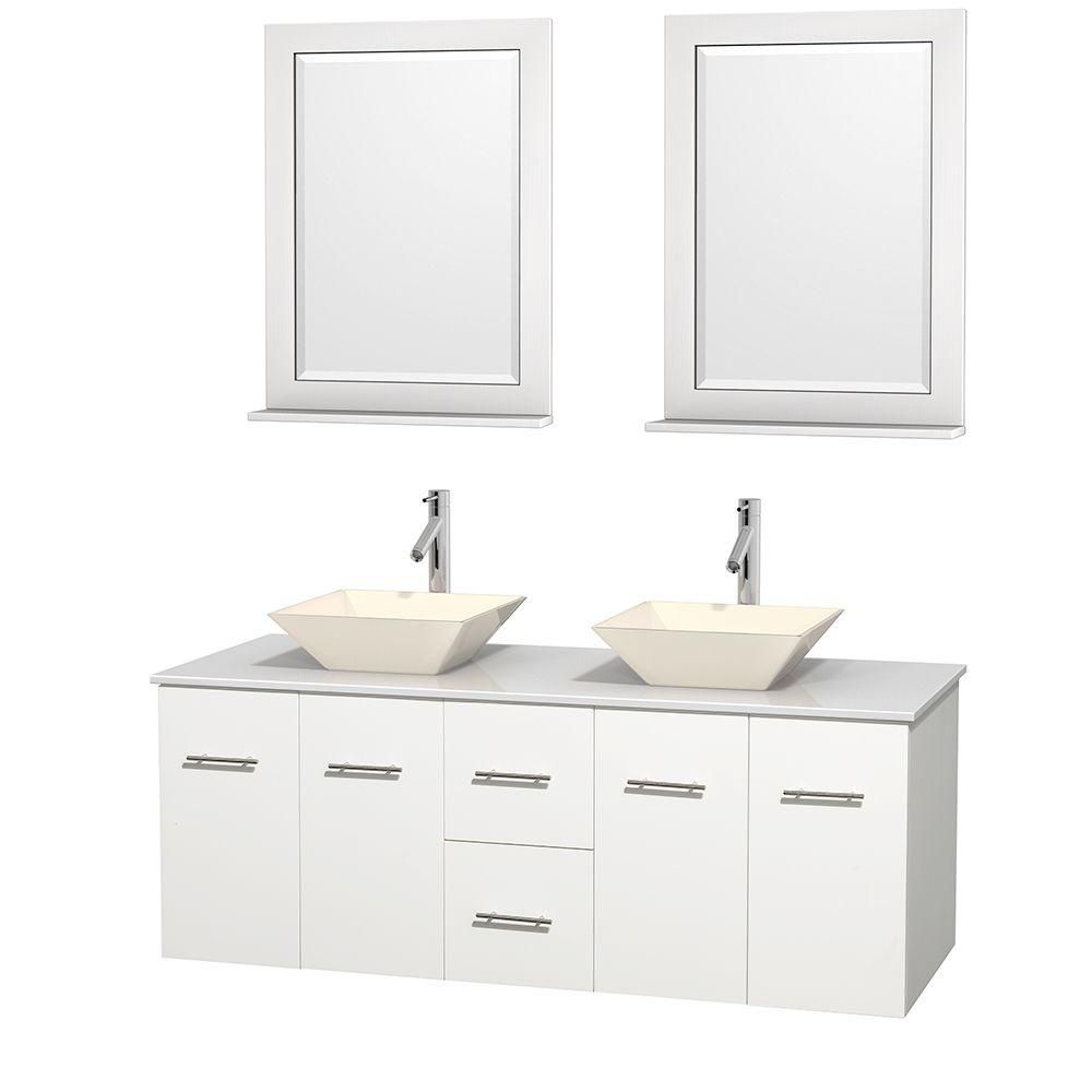 Centra 60-inch W Double Vanity in White with Solid Top with Bone Basins and Mirrors