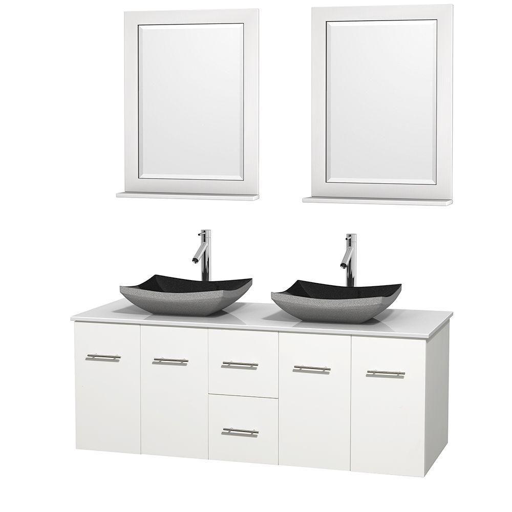 Meuble double Centra 60 po. blanc, comptoir solide, lavabos granit noir, miroirs 24 po.