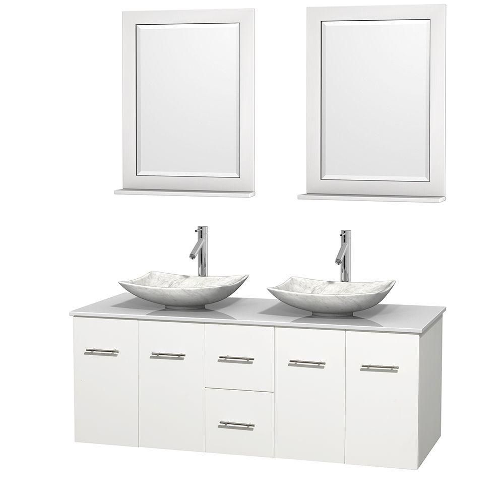 Centra 60-inch W Double Vanity in White with Solid Top with White Basins and Mirrors