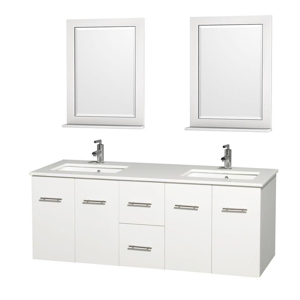 Centra 60-inch W Double Vanity in White with Solid Top with Square Basins and Mirrors