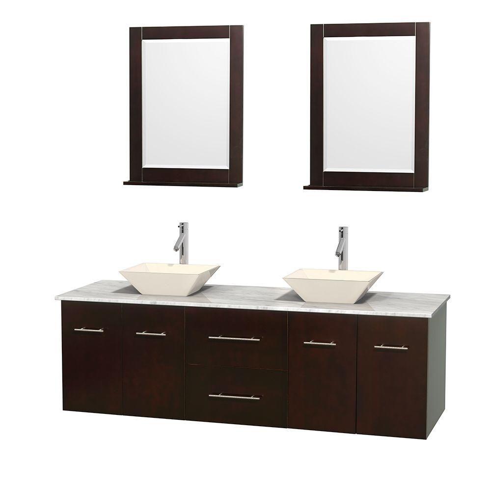 Meuble double Centra 72 po. espresso, comptoir blanc Carrare, lavabos porcelaine bone, miroirs 24...