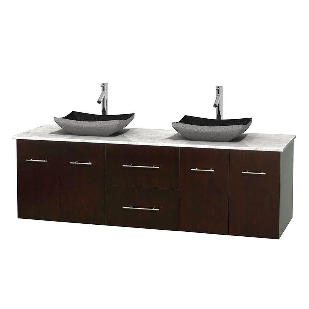 Meuble double Centra 72 po. espresso, comptoir blanc Carrare, lavabos granit noir, sans miroir