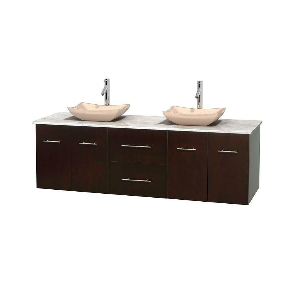 Centra 72-inch W Double Vanity in Espresso with White Top with Ivory Basins