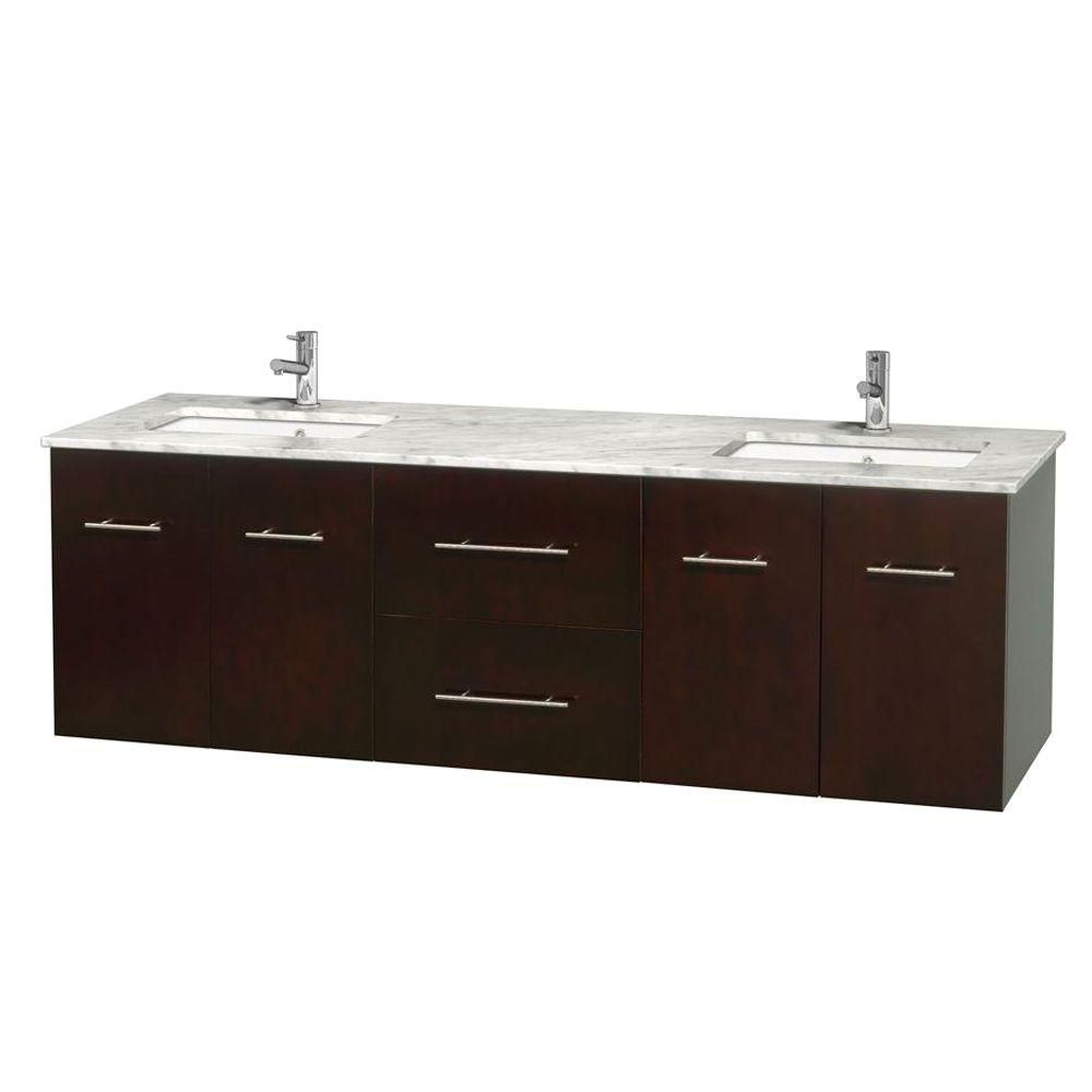 Centra 72-inch W Double Vanity in Espresso with White Top with Square Basins