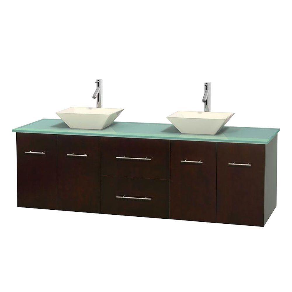 Meuble double Centra 72 po. espresso, comptoir verre vert, lavabos porcelaine bone sans miroir
