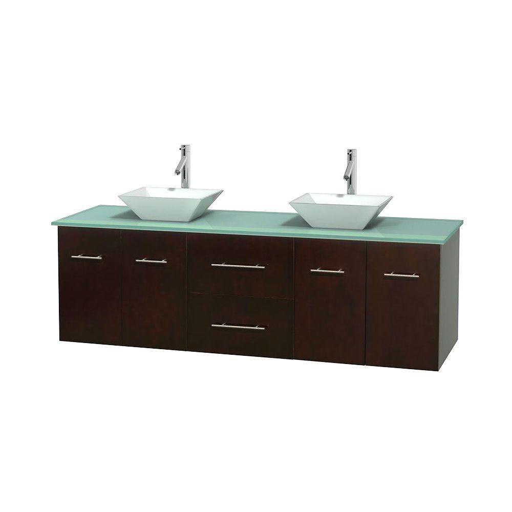 Meuble double Centra 72 po. espresso, comptoir verre vert, lavabos porcelaine blanche sans miroir
