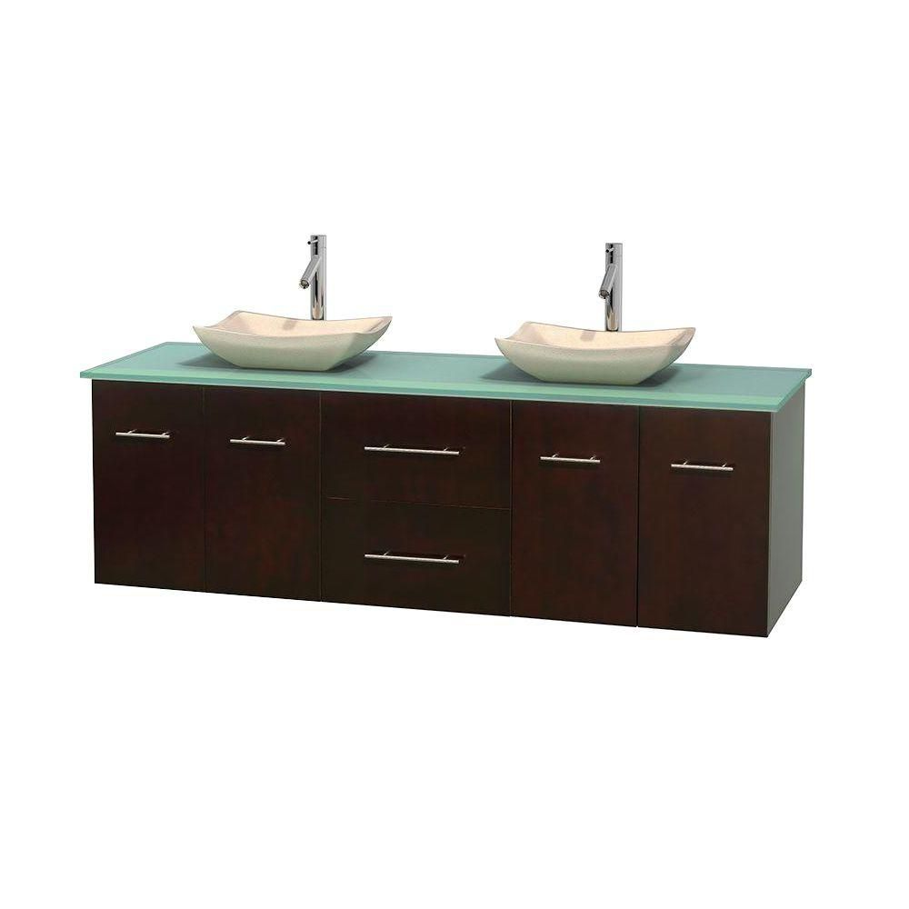 Centra 72-inch W Double Vanity in Espresso with Glass Top with Ivory Basins