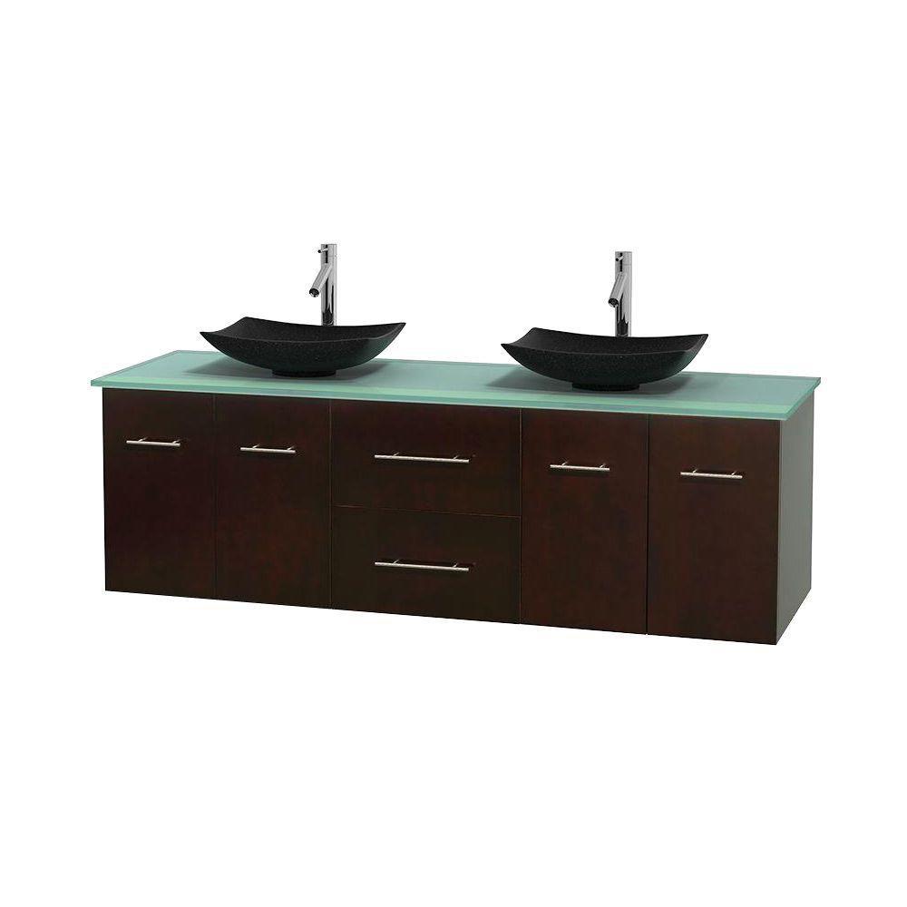 Meuble double Centra 72 po. espresso, comptoir verre vert, lavabos granit noir, sans miroir