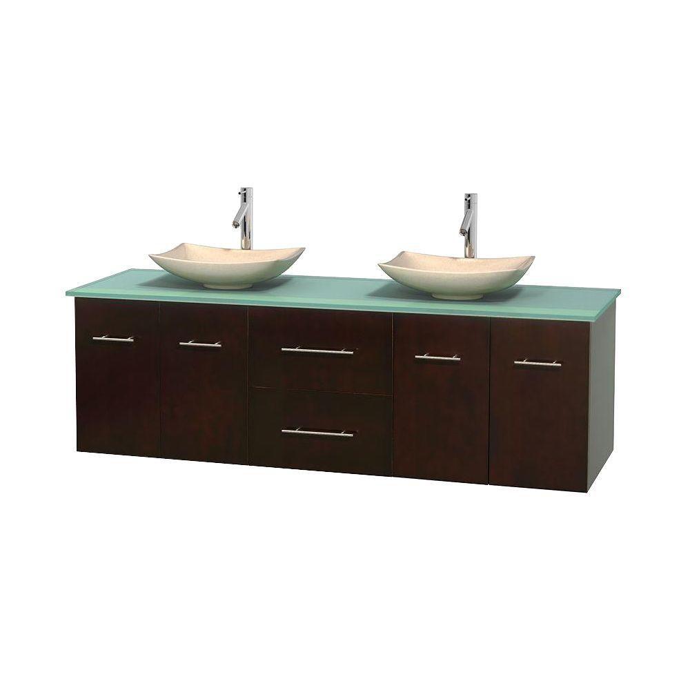 Meuble double Centra 72 po. espresso, comptoir verre vert, lavabos ivoire, sans miroir