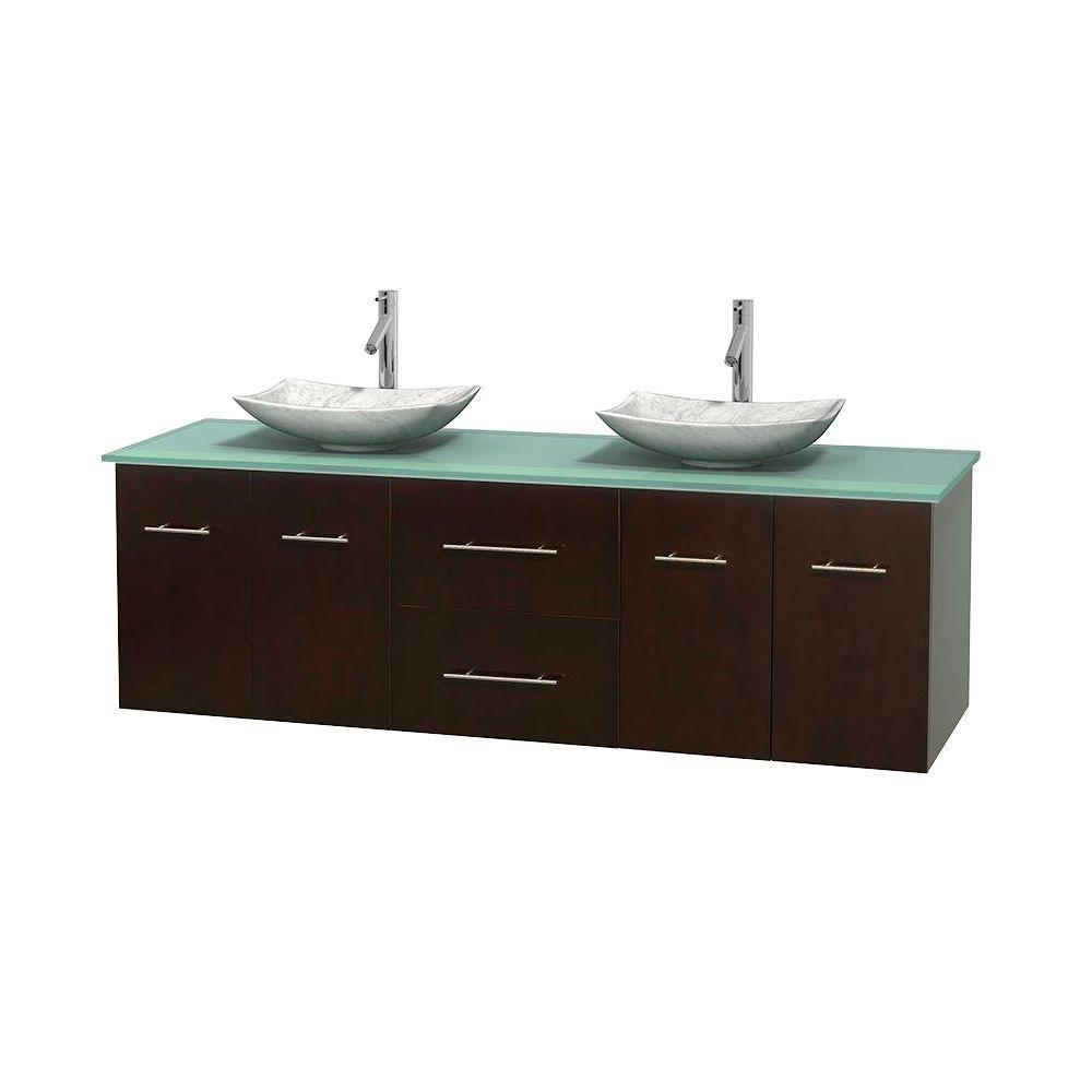 Meuble double Centra 72 po. espresso, comptoir verre vert, lavabos blanc Carrare, sans miroir