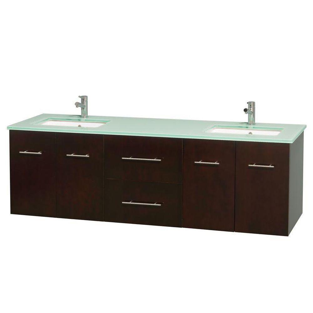 Meuble double Centra 72 po. espresso, comptoir verre vert, lavabos carrés sans miroir