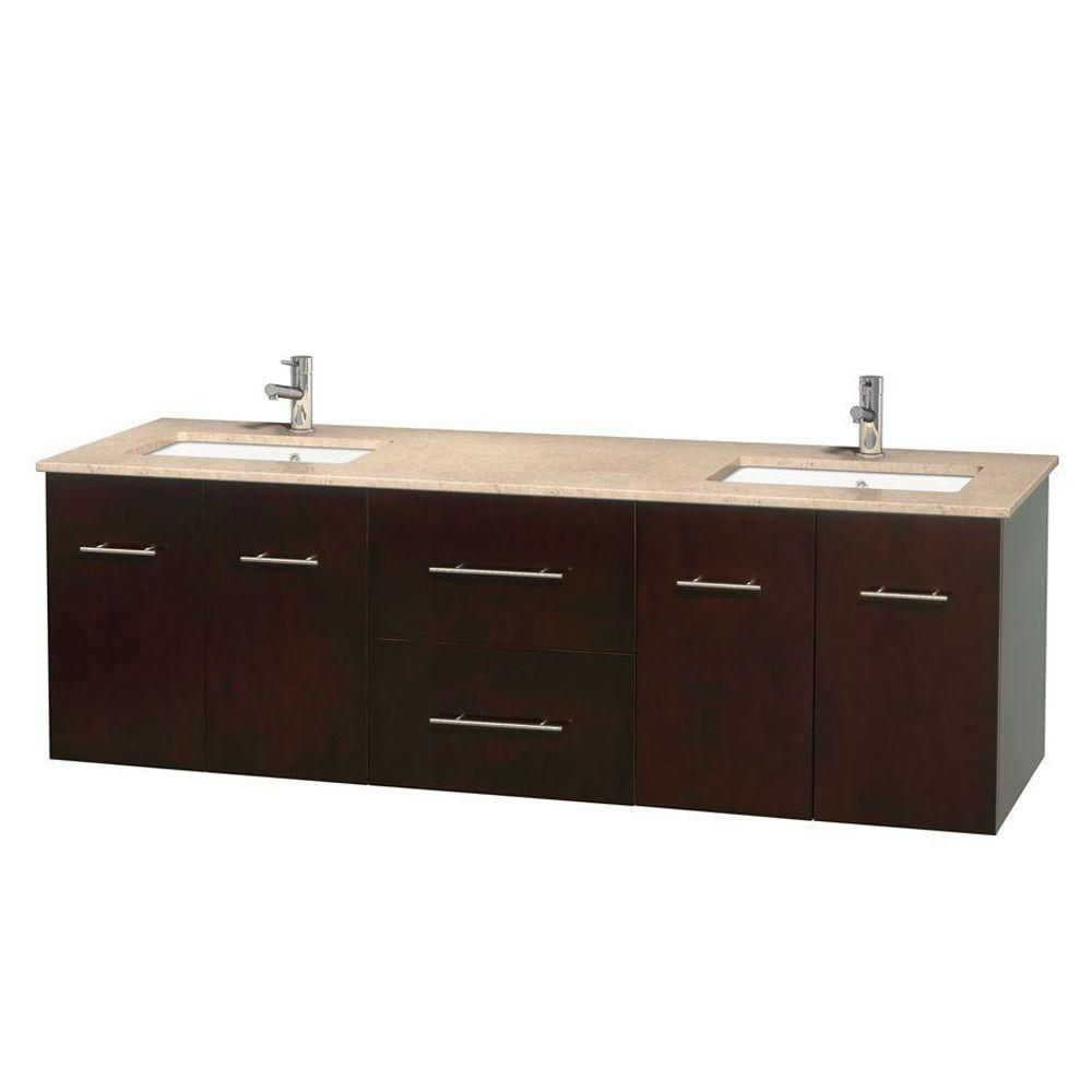 Centra 72-inch W Double Vanity in Espresso with Marble Top in Ivory with Square Basins