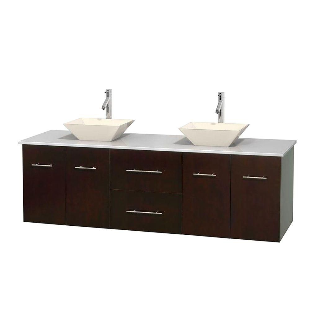 Centra 72-inch W Double Vanity in Espresso with Solid Top with Bone Basins
