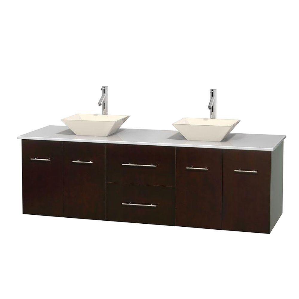 Meuble double Centra 72 po. espresso, comptoir solide, lavabos porcelaine bone sans miroir