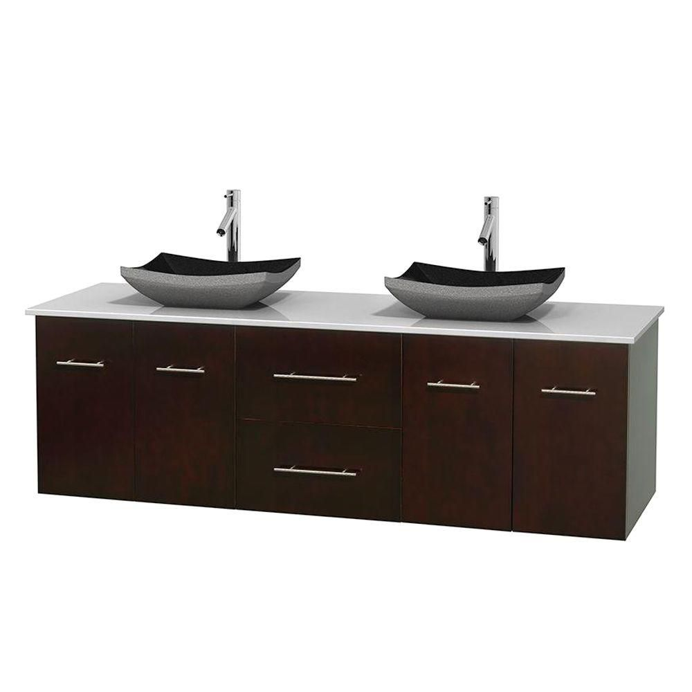 Centra 72-inch W Double Vanity in Espresso with Solid Top with Black Basins