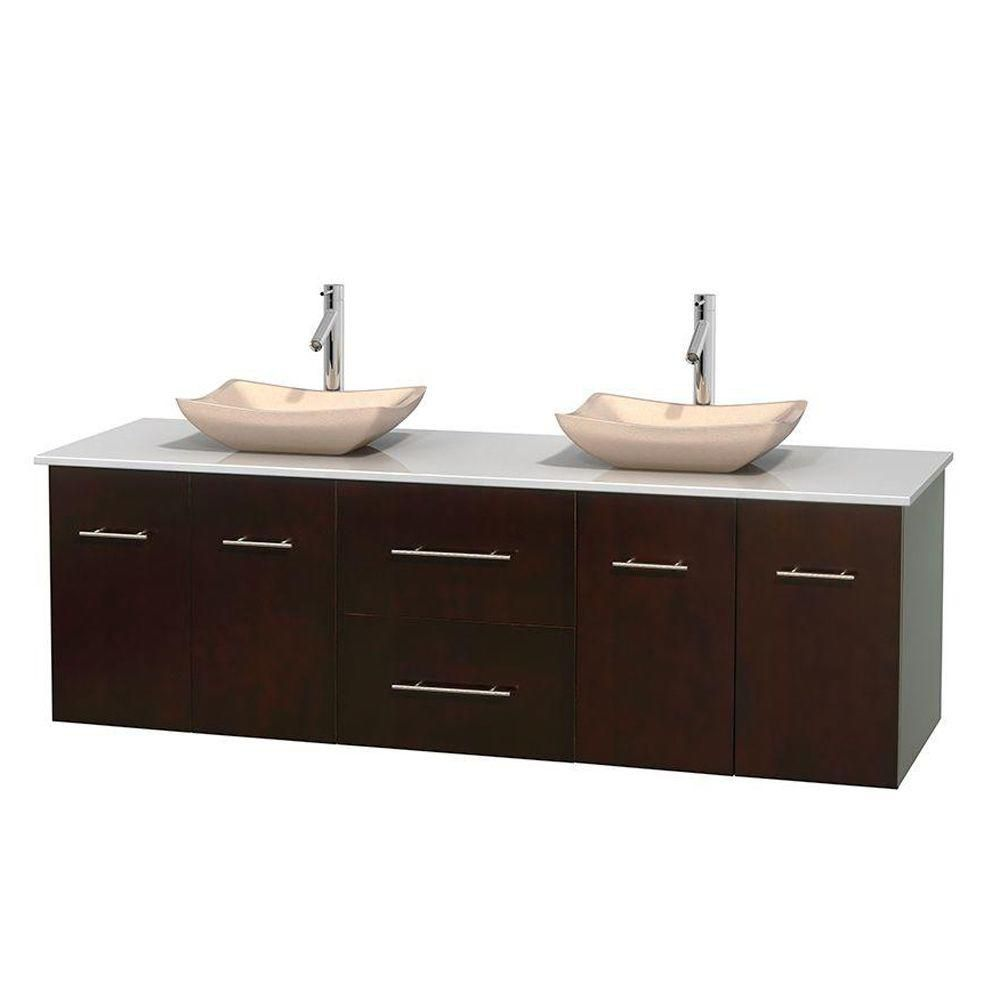 Centra 72-inch W Double Vanity in Espresso with Solid Top with Ivory Basins