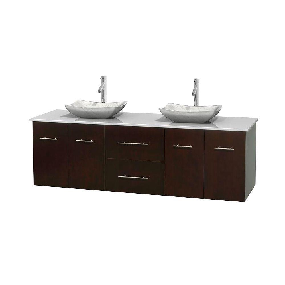 Meuble double Centra 72 po. espresso, comptoir solide, lavabos blanc Carrare, sans miroir