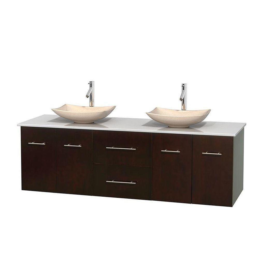 Meuble double Centra 72 po. espresso, comptoir solide, lavabos ivoire, sans miroir