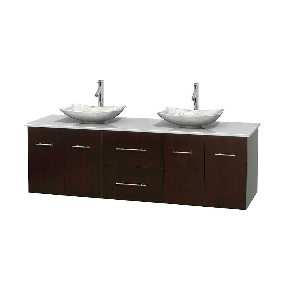 Centra 72-inch W Double Vanity in Espresso with Solid Top with White Basins
