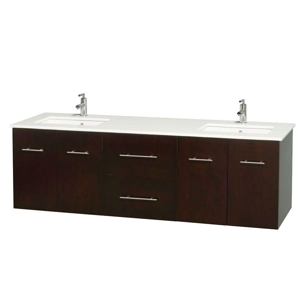 Centra 72-inch W Double Vanity in Espresso with Solid Top with Square Basins