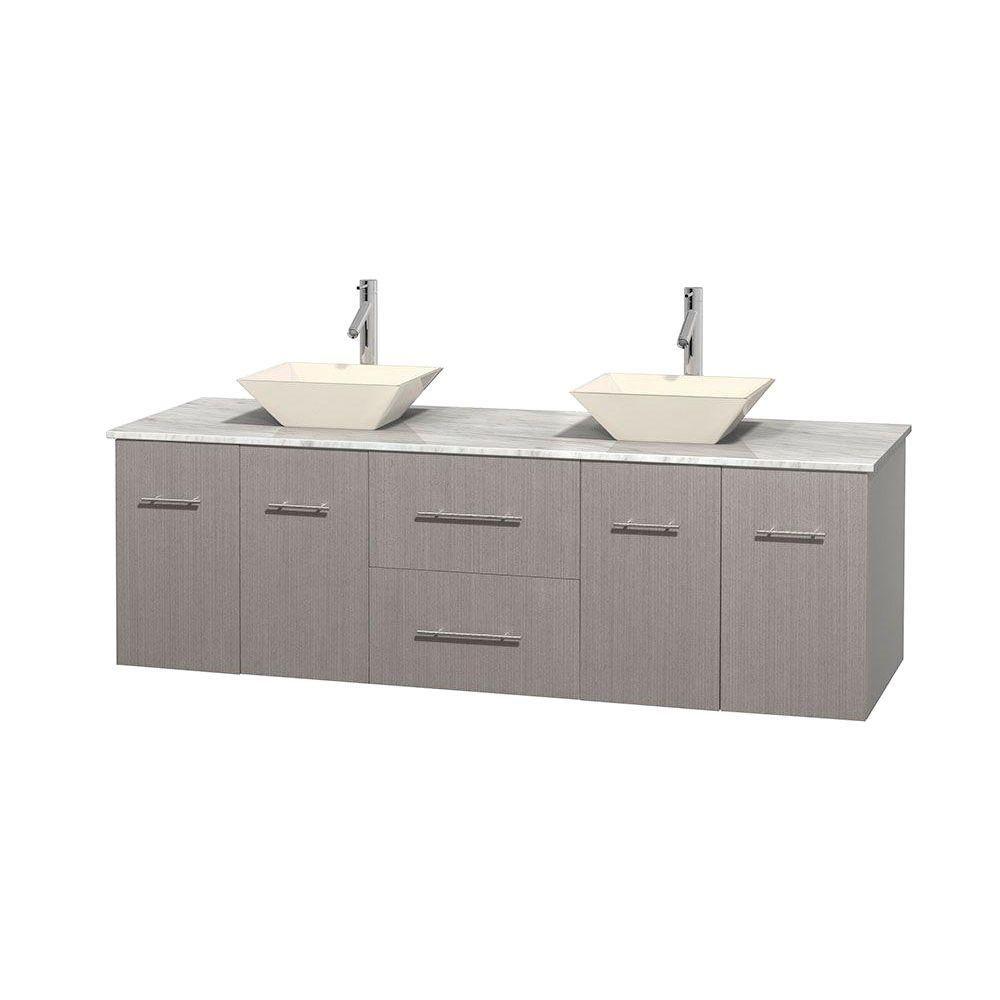 Meuble double Centra 72 po. chêne gris, comptoir blanc Carrare, lavabos porcelaine bone sans miro...