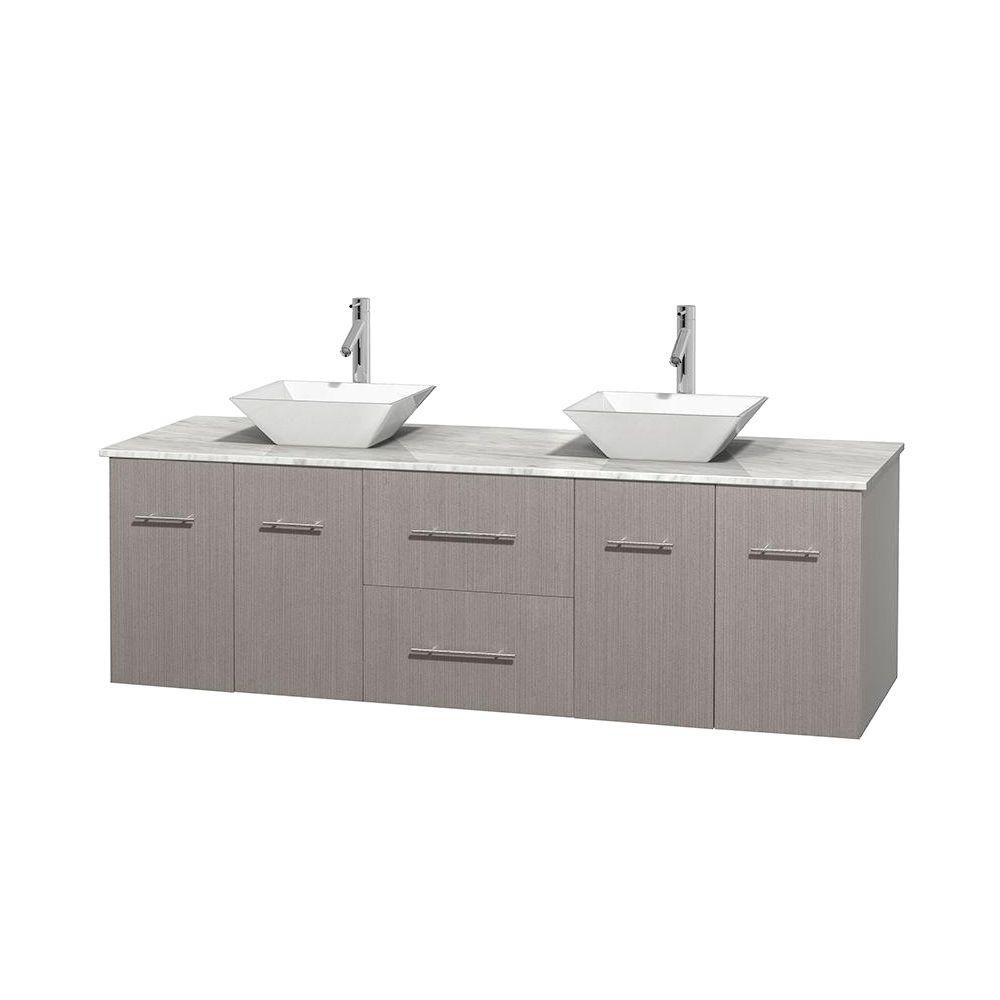 Centra 72-inch W Double Vanity in Grey Oak with White Top with White Basins