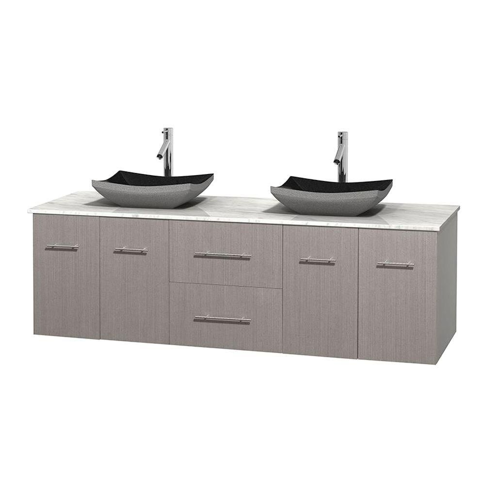 Centra 72-inch W Double Vanity in Grey Oak with White Top with Black Basins