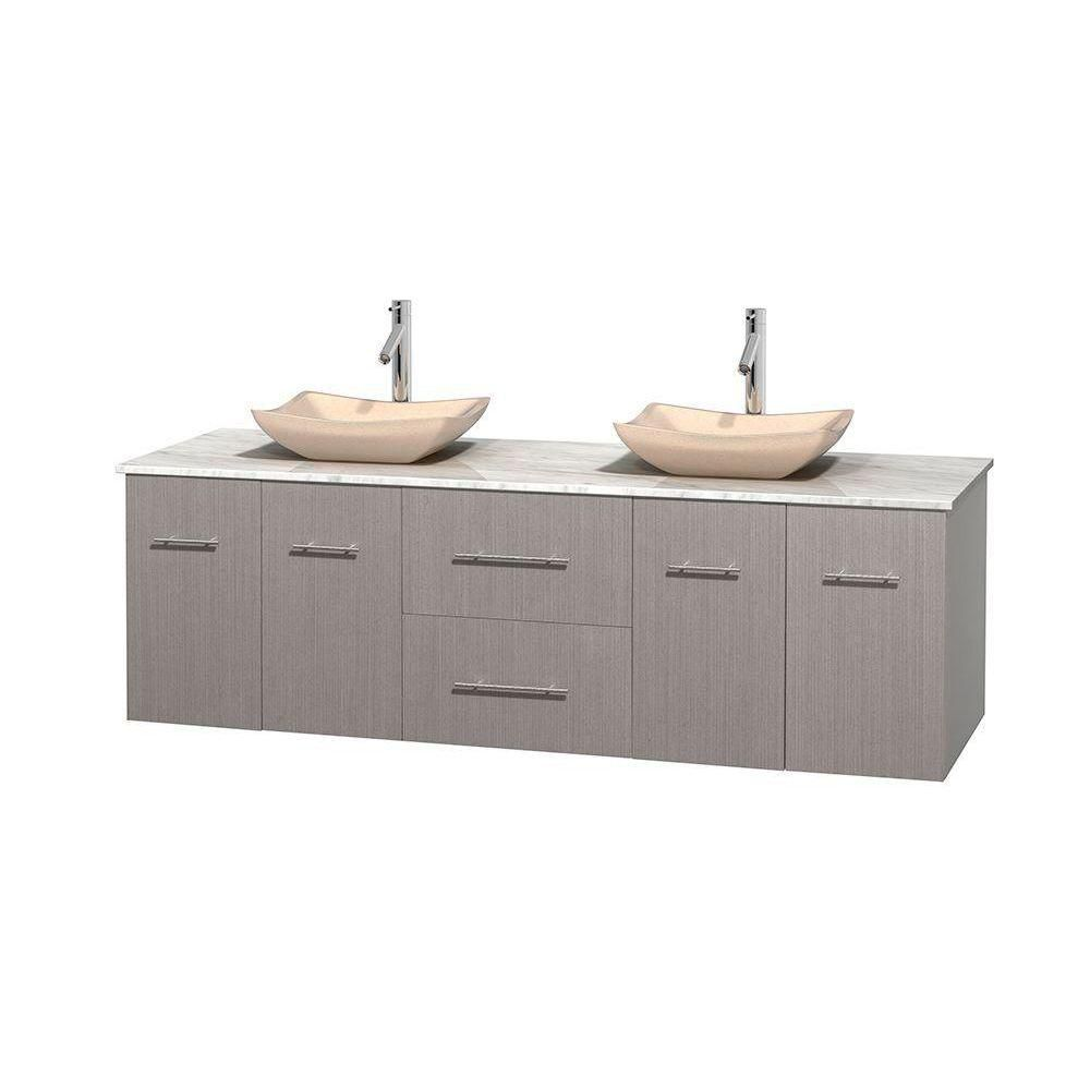 Centra 72-inch W Double Vanity in Grey Oak with White Top with Ivory Basins