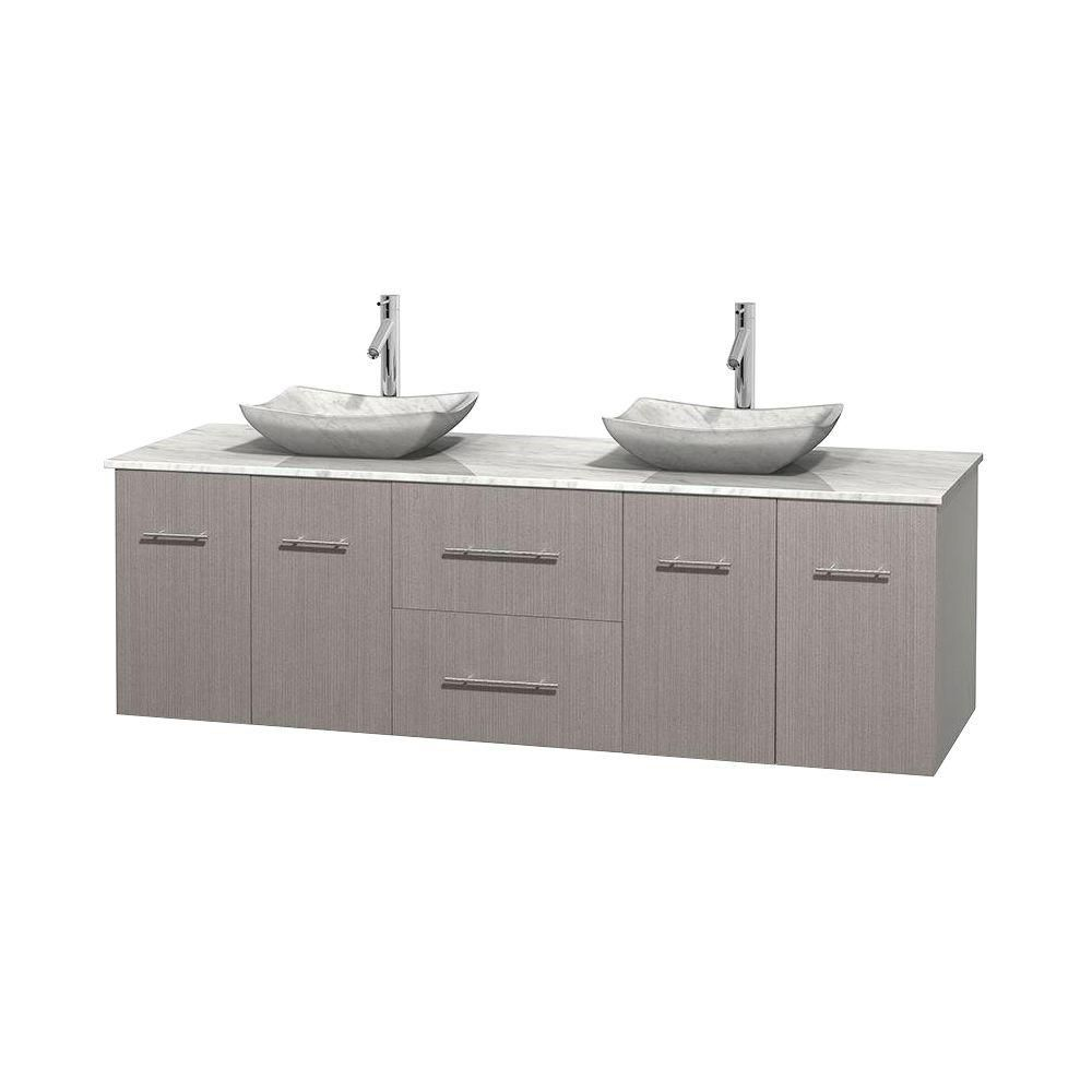 Wyndham Collection Centra 72-inch W 2-Drawer 4-Door Wall Mounted Vanity in Grey With Marble Top in White, Double Basins