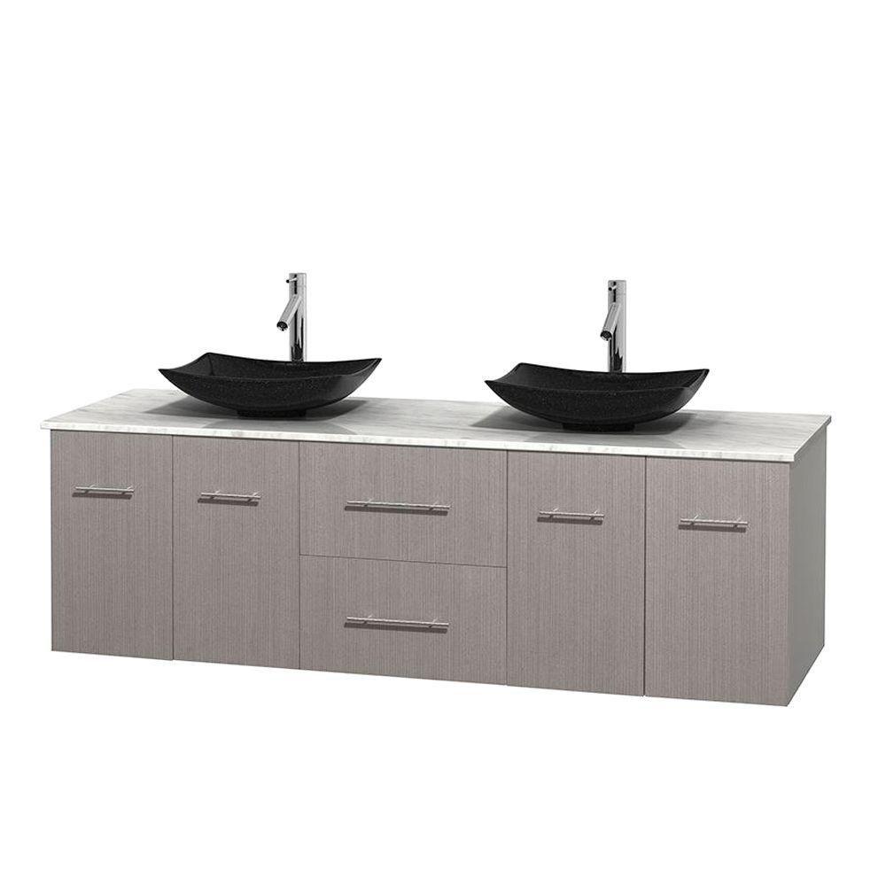 Meuble double Centra 72 po. chêne gris, comptoir blanc Carrare, lavabos granit noir, sans miroir
